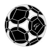 Soccer ball. With monochrome drawing Royalty Free Stock Images