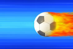 Soccer Ball. Ball football in high speed catching fire Royalty Free Stock Photography