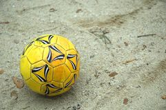 Soccer Ball. At the Beach Royalty Free Stock Photo