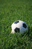Soccer Ball. The picture shows a soccer ball lying on lawn Stock Photo