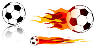 Soccer ball. And fire on the white background Stock Photos