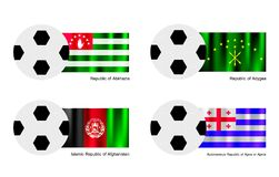 Soccer Ball with Abkhazia, Adygea, Afghanistan and. An Illustration of Soccer Balls or Footballs with Flags of Abkhazia, Adygea, Afghanistan and Ajaria on Royalty Free Stock Photos