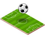 Soccer ball above soccer field - Isometric Vector. Soccer ball on isometric soccer field background, Football tournament, for poster sport soccer-Vector Royalty Free Stock Photography