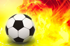 Soccer ball. In abstract fire background 3d image Stock Image