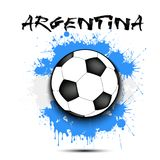 Soccer ball and Argentina flag. Soccer ball against the background of the Argentina flag of paint blots. Vector illustration Stock Image
