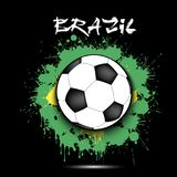Soccer ball and Brazil flag. Soccer ball against the background of the Brazil flag of paint blots. Vector illustration Royalty Free Stock Photography