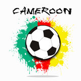 Soccer ball against the background of the Cameroon flag Royalty Free Stock Photography