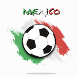 Soccer ball against the background of the Mexico flag Stock Images