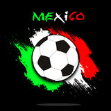 Soccer ball against the background of the Mexico flag. Soccer ball on the background of the Mexico flag in grunge style. Vector illustration Stock Photo