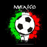 Soccer ball against the background of the Mexico flag. Soccer ball against the background of the Mexico and flag of paint blots. Vector illustration Royalty Free Stock Photos