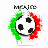 Soccer ball against the background of the Mexico flag. Soccer ball against the background of the Mexico and flag of paint blots. Vector illustration Royalty Free Stock Image