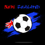 Soccer ball against the background of the New Zealand flag. Soccer ball on the background of the New Zealand flag in grunge style. Vector illustration Stock Photos