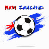 Soccer ball against the background of the New Zealand flag. Soccer ball on the background of the New Zealand flag in grunge style. Vector illustration Stock Photo