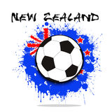 Soccer ball against the background of the New Zealand flag. Of paint blots. Vector illustration Royalty Free Stock Images