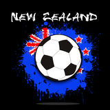 Soccer ball against the background of the New Zealand flag. Of paint blots. Vector illustration Stock Images