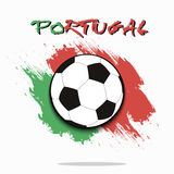 Soccer ball against the background of the Portugal flag Stock Photography