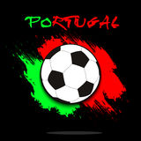 Soccer ball against the background of the Portugal flag Royalty Free Stock Photos