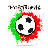 Soccer ball against the background of the Portugal flag Royalty Free Stock Images