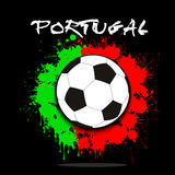 Soccer ball against the background of the Portugal flag Stock Image