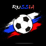 Soccer ball against the background of the Russian flag. Soccer ball on the background of the Russian flag in grunge style. Vector illustration Royalty Free Stock Photos