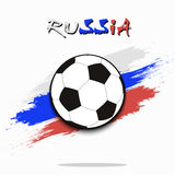 Soccer ball against the background of the Russian flag. Soccer ball on the background of the Russian flag in grunge style. Vector illustration Royalty Free Stock Images