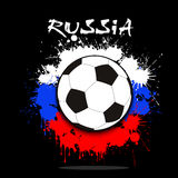 Soccer ball against the background of the Russian flag. Of paint blots. Vector illustration Stock Image