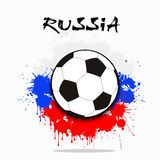 Soccer ball against the background of the Russian flag. Of paint blots. Vector illustration Stock Photos