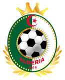 Soccer ball on Algerian flag Stock Photo