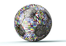 Soccer ball with all flags of the world isolated on white Royalty Free Stock Photos