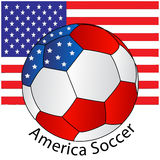 Soccer ball of America with Flag. A soccer ball with USA color scheme and USA flag as background. vector file royalty free illustration