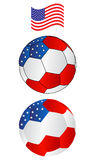 Soccer ball of America with flying Flag Stock Images