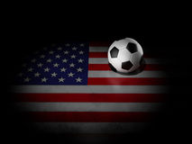 Soccer ball with american flag Stock Image