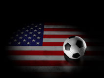 Soccer ball with american flag Stock Photos