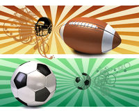 Soccer ball and american football Royalty Free Stock Photos