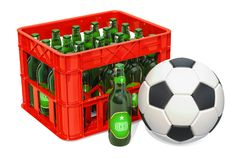 Soccer Ball And Crate With Beers. 3D Rendering Royalty Free Stock Photography