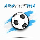 Soccer ball and Argentina flag. Soccer ball on the background of the Argentina flag in grunge style. Vector illustration Stock Photo