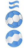 Soccer ball of Argentina with flying Flag Royalty Free Stock Image
