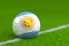 Soccer Ball With Argentinian Flag 3D Render Royalty Free Stock Photography
