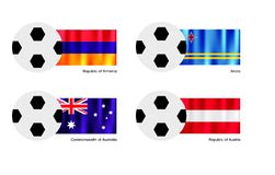 Soccer Ball with Armenia, Aruba, Australia and Aus Stock Photo