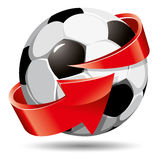 Soccer ball and arrow Stock Photography