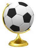 Soccer ball as terrestrial globe on golden stand Stock Photo
