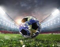Soccer ball a as world. Earth provided by NASA. Soccer ball a as world planet. Earth provided by NASA royalty free stock photo