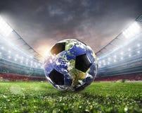 Soccer ball a as world. Earth provided by NASA. Soccer ball a as world planet. Earth provided by NASA royalty free stock photos