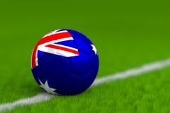 Soccer Ball With Australian Flag 3D Render Stock Image