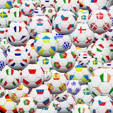 Soccer ball background. Soccer ball of final team  in Euro 2012 background Stock Photo