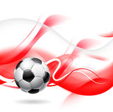Soccer ball background. Soccer or football on abstract red and white background, colours of Polish national team Stock Photos