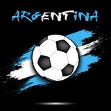 Soccer ball and Argentina flag. Soccer ball on the background of the Argentina flag in grunge style. Vector illustration Stock Photography