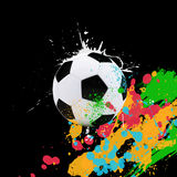 Soccer ball on the background of beautiful blots Royalty Free Stock Photography