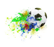 Soccer ball on the background of beautiful blots Royalty Free Stock Image