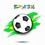 Soccer ball and Brazil flag. Soccer ball on the background of the Brazil flag in grunge style. Vector illustration Stock Photography